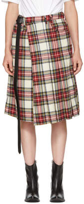 R 13 White Pleated Plaid Skort