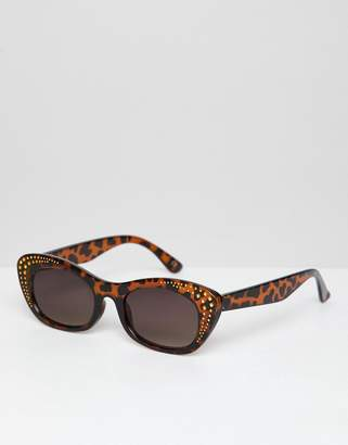 Asos DESIGN Square Sunglasses In Tort With Gold Detailing
