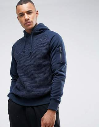 Brave Soul Overhead Textured Hoodie With Zip Detail