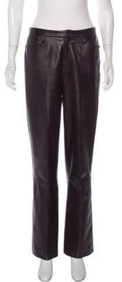 Ellen Tracy Linda Allard Leather High-Rise Pants