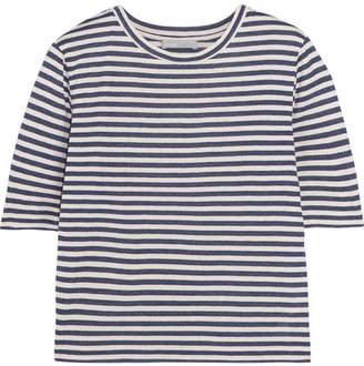 Vince Striped Silk-blend Jersey T-shirt - Navy