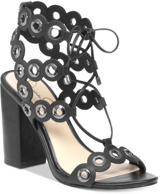 Jessica Simpson Kariss Strappy Embellished Block-Heel Sandals $119 thestylecure.com