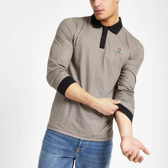 River Island Mens Brown check slim fit polo shirt