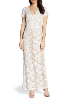 BY WATTERS Back Cutout Lace Sheath Wedding Dress