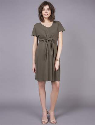 ee77150f70662 A Pea in the Pod Seraphine Tie Front Maternity Dress