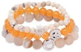 Boheme Orange Jade, Opal, White Topaz & Sterling Silver Beaded Bracelet