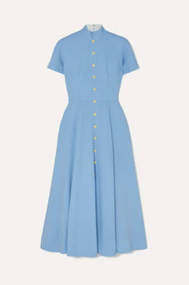 Emilia Wickstead Camila Wool-crepe Midi Dress - Light blue