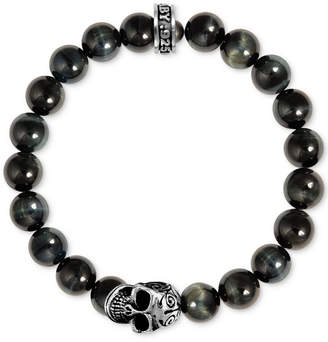 King Baby Studio Men's Blue Tiger Eye Beaded Skull Stretch Bracelet in Sterling Silver