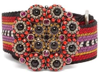 Etro Embellished Buckle Woven Belt - Womens - Pink