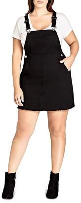 City Chic Plus Overall Bib Denim Dress