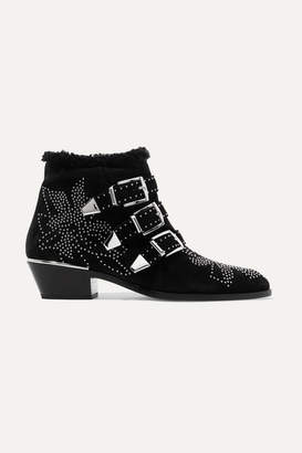 Chloé Susanna Shearling-lined Studded Suede Ankle Boots - Black
