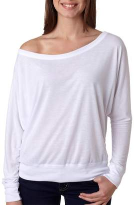 B.ella + Canvas Womens Flowy Long-Sleeve Off Shoulder T-Shirt - ,L