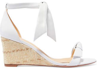 Alexandre Birman Clarita Bow-embellished Leather Espadrille Wedge Sandals - White
