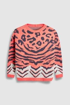Next Womens Monochrome Mixed Animal Print Sweater