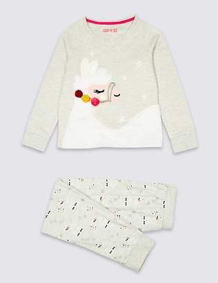 Marks and Spencer Cotton Rich Llama Pyjamas (3-16 Years)