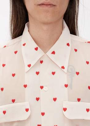 Needles Heart Embroidered Cut-Off Bottom Classic Shirt