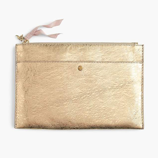 Large pouch in metallic Italian leather