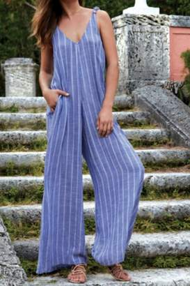Elan International Blue Striped Jumpsuit