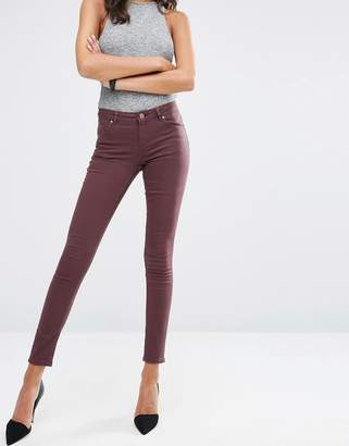 Asos LISBON Mid Rise Jeans in Blackened Oxblood