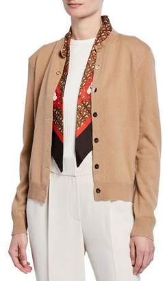 Burberry Cashmere Monogram-Print Silk Scarfed Cardigan, Brown