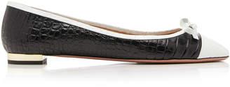 Aquazzura Moss Two-Tone Croc-Effect Leather Ballet Flats