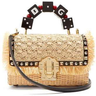 Dolce & Gabbana Lucia Stud Embellished Wicker Basket Bag - Womens - Cream Multi