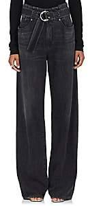 Atelier Jean JEAN WOMEN'S WIDE-LEG CINCHED JEANS-BLACK SIZE 25