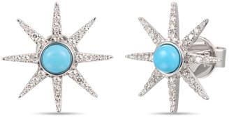 Diamond Select Cuts 18K 0.37 Ct. Tw. Diamond & Turquoise Sparkle Star Earrings
