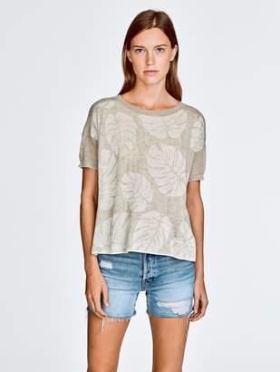 White + Warren Italian Linen Palm Leaf Jacquard Knit Tee