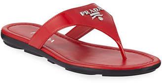 Prada Patent Logo Thong Sandal