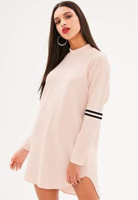 Missguided Pink Sports Trim High Neck Shift Dress