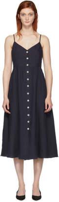 Mansur Gavriel Blue Slip Button Dress