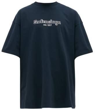 Balenciaga Logo Embroidered Cotton Jersey T Shirt - Mens - Navy White