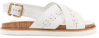 Tod's Whipstitched Croc-effect Leather Slingback Sandals - White