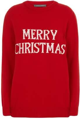 Alberta Ferretti Oversized Merry Christmas Sweater