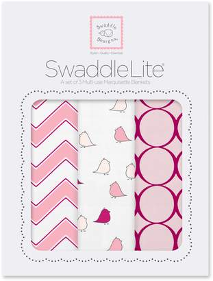 Swaddle Designs SwaddleLite, Chic Chevron Lite (Set of 3 Swaddling Blankets in Pink)