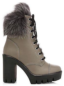 Giuseppe Zanotti Women's Leather Shearling-Lined Chunky Combat Boots