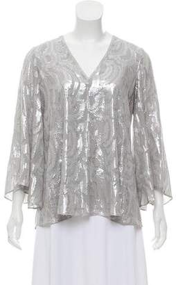 Elizabeth and James Metallic Long Sleeve Top