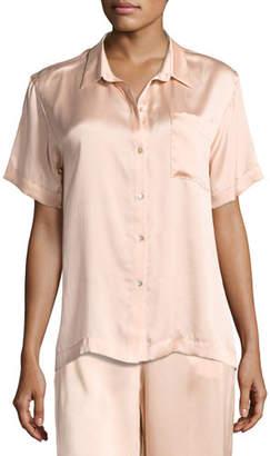 Asceno Short-Sleeve Silk-Satin Pajama Top, Light Pink