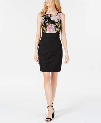 Connected Sleeveless Floral-Top Sheath Dress