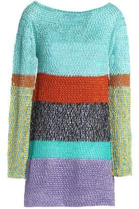 Missoni Metallic Color-Block Crochet-Knit Mini Dress