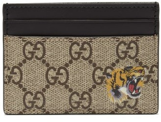 Gucci Gg Supreme Tiger Print Canvas Cardholder - Mens - Brown Multi