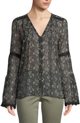 Paige Clio V-Neck Bell-Sleeves Floral-Print Sheer Silk Blouse w/ Lace