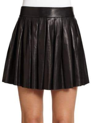Alice + Olivia Women's Pleated Leather Mini Skirt - Black - Size 8