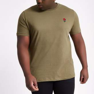 River Island Big and Tall dark green embroidered T-shirt