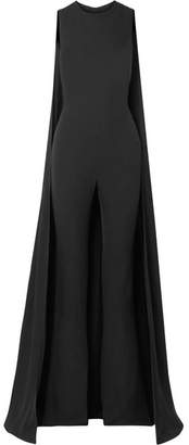 Tom Ford Cape-effect Silk-georgette Jumpsuit - Black