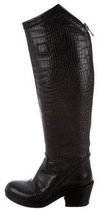 Haider Ackermann Round-Toe Embossed Boots