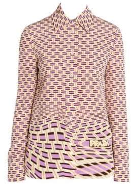 Prada Women's Crepe De Chine Weave Print Button-Down Shirt - Begonia Weave - Size 42 (6)