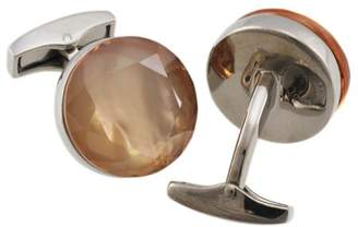 Tateossian Sterling Silver Brown Cubic Zirconia Round Sushi Cufflinks