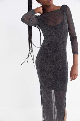MinkPink In The Night Sparkly Mesh Maxi Dress